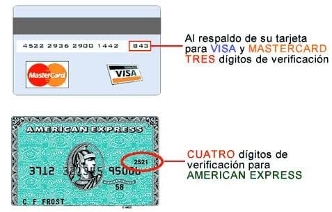 Códigos de seguridad CVV en Visa, MasterCard y American Express