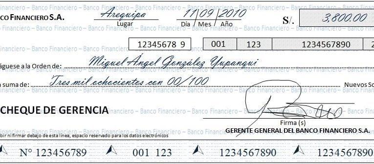 Ejemplo de cheque de gerencia