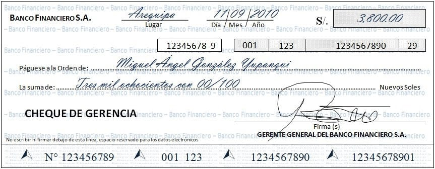 Qu es un cheque de gerencia curiosoando for Oficinas de banco financiero