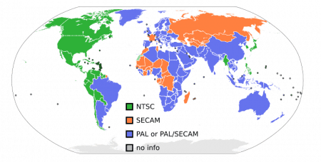 NTSC/PAL/SECAM en el mundo