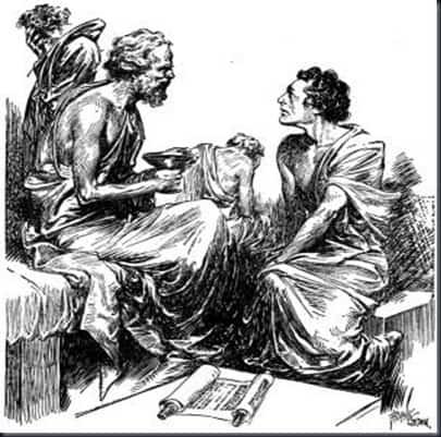 Sócrates dialogando con un alumno