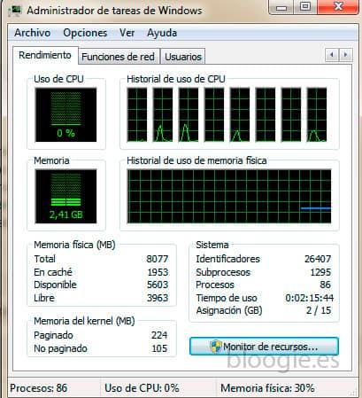Uso de memoria RAM