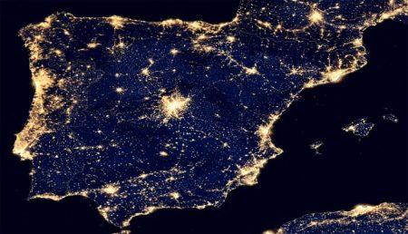 Las luces de la Península Ibérica por la noche