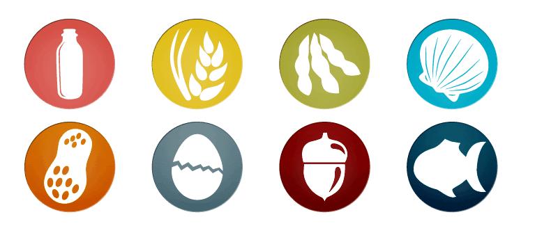 Iconos principales alimentos que dan alergia