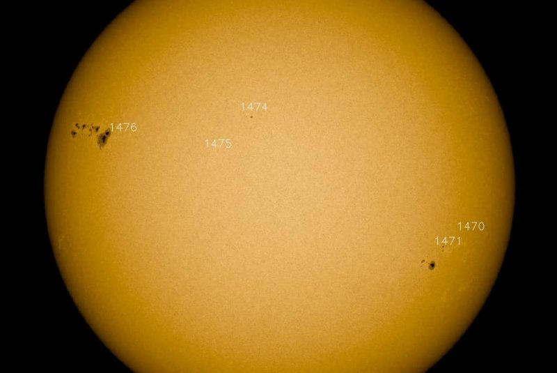 Vista del Sol con varias zonas activas de manchas solares