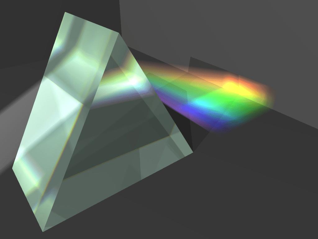 Dispersión refractiva de la luz blanca