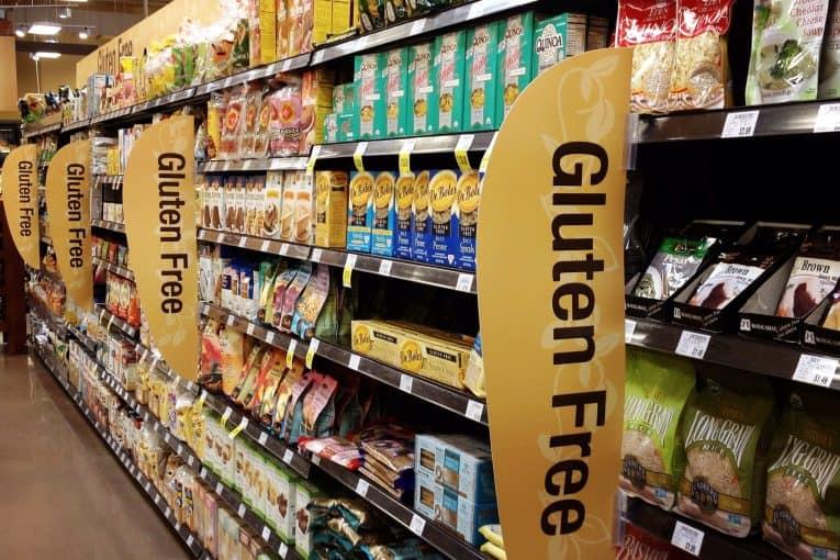 Estantes de supermercado gluten-free