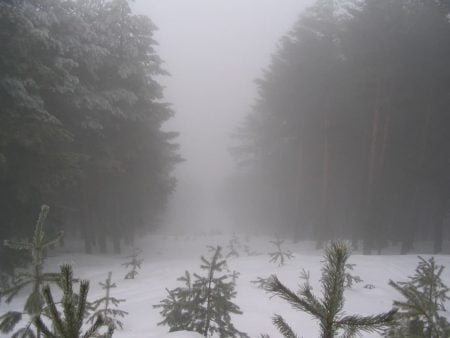 Niebla de advección en la Sierra de Guadarrama