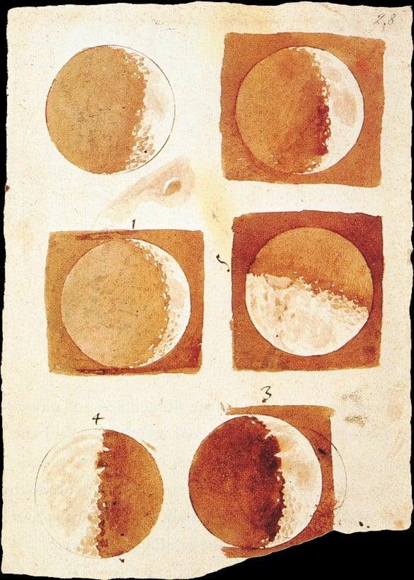 Fases lunares. Ilustración de Galielo Galilei