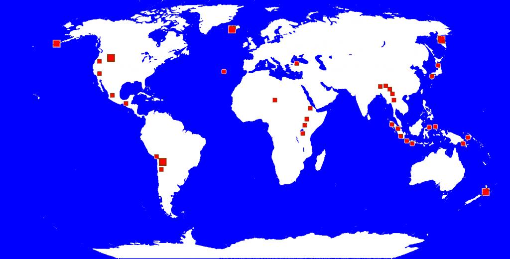 Localización de los principales géiseres