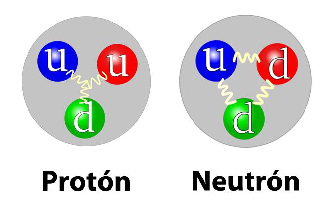 Quarks de un protón y un neutrón