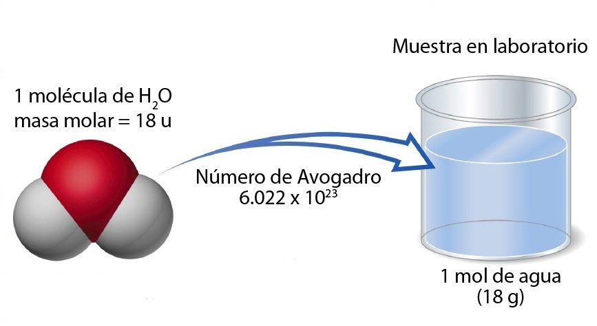 1 mol de agua = 18 g