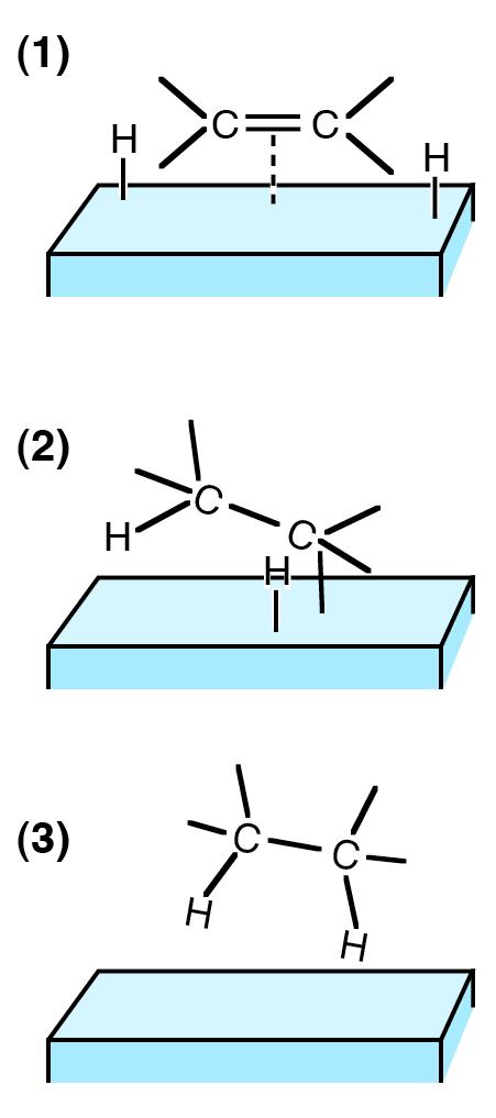 Hidrogenación de alquenos en un catalizador sólido