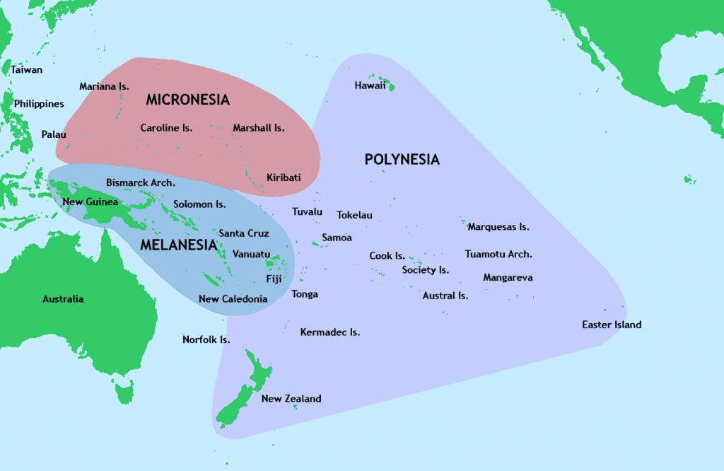 Micronesia, polinesia y melanesia