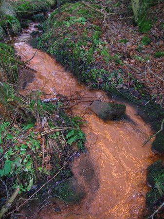 Arroyo con bacterias del hierro